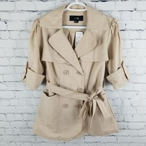XXI | taupe button up short sleeve casual jacket